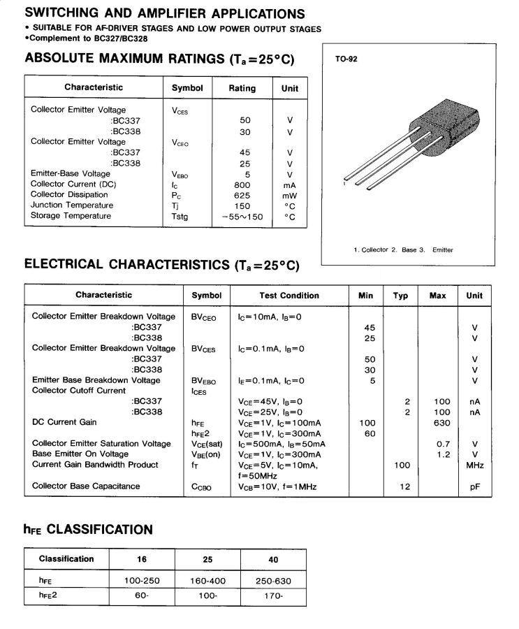 Bc337 datasheet
