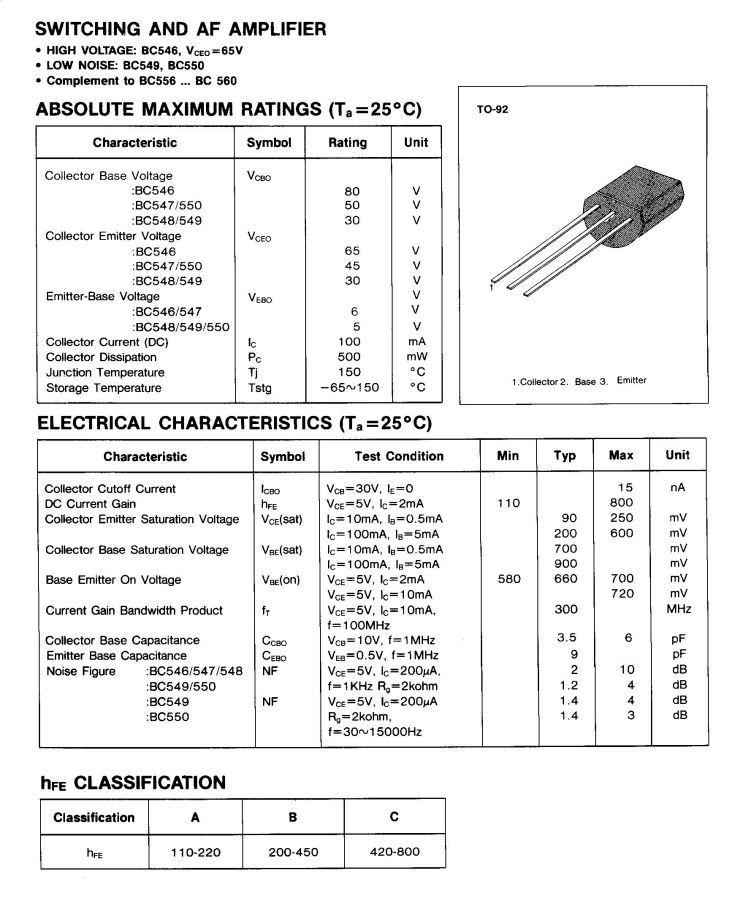 Bc549 datasheet